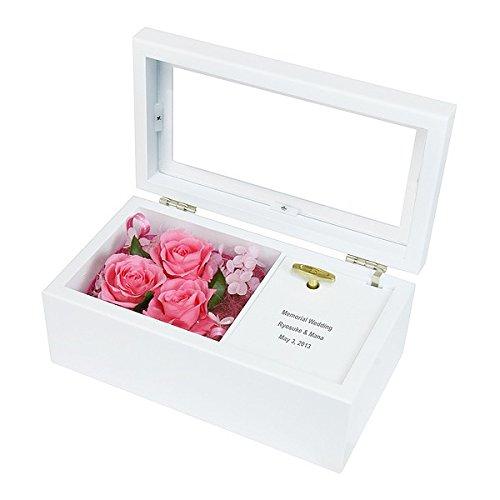 贈り物セット 名入れレリーフセット プリザーブドフラワー オルゴール ピンク