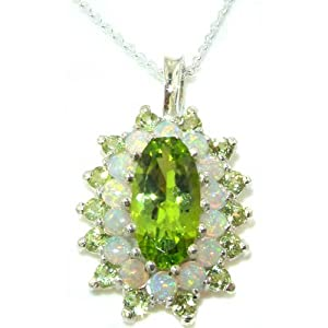 Unusual Luxury Ladies Solid 925 Sterling Silver Natural Large Peridot & Opal 3 Tier Cluster Pendant Necklace with English Hallmarks - Ideal for Christmas, Birthday, Anniversary or Mothers Day Gift