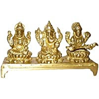 Ganesh Laxmi & Saraswati Sitting On Bajath Midium By Vyomshop