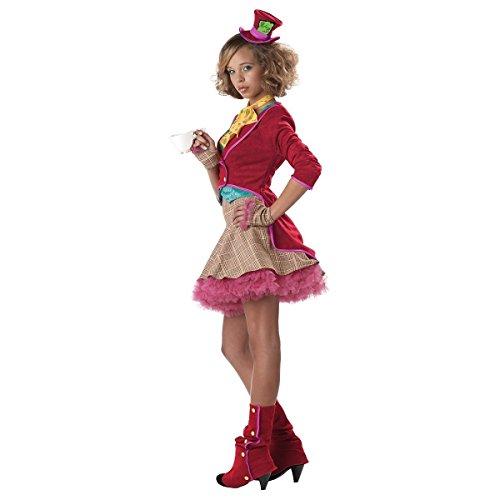 GSG Mad Hatter Costume for Girls Teen Kids Female Halloween Fancy Dress (Little Red Riding Hood Halloween Costume Teenager)