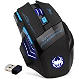 DLAND ZELOTES Professional LED Optical 2400 DPI 7 Button USB Wireless Gaming Mouse Mice for gamer Adjustable DPI Switch Function 2400 DPI /1600 DPI /1000 DPI For Pro Game Notebook PC Laptop Computer (USB adapter Insert the Back of the Mouse)