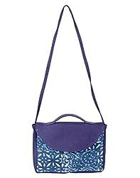 Vintage Cotton Floral Sling Bag Blue Printed For Girl's By Rajrang