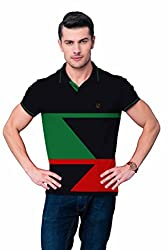 League Men's Collar T- Shirt (F_505_XX-Large_Black)