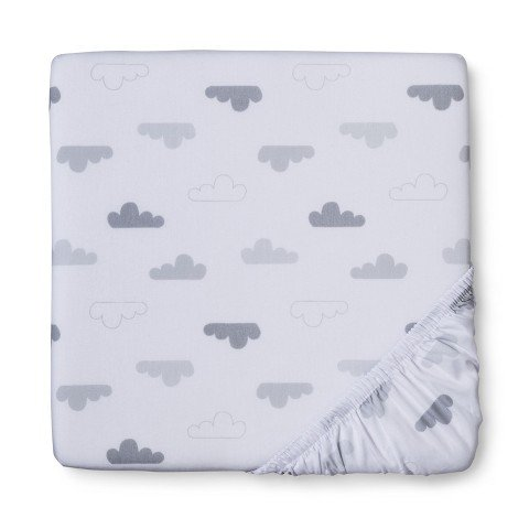 Circo Woven Grey Clouds Fitted Crib Sheet