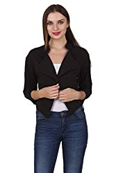 One Femme Women's Formal Cotton Solid Color Shrug (OFSGT001_Black 02_Small)