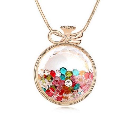 "Alvdis Fashion Jewelry Circle Bottle Style Alloy Swarovski Crystal Long Sweater Chain Pendant Necklace, 30"", Multicolor"