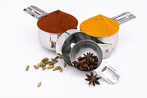 Stainless Steel Measuring Cups Set - Stackable 4 Pieces By Superb Chefs.