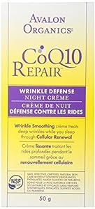 Avalon Organics CoQ10 Repair Wrinkle Defense Night Crème, 1.75 Ounce Bottle (Pack of 2) by Avalon Organics