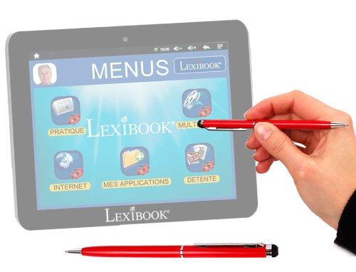 Stylet + stylo bille 2 en 1 haute précision en rouge pour écran tablette tactile Lexibook Tablet Serenity Ultra MFC410FR dédiée aux seniors