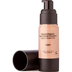 Light Liquid Mineral Foundation Makeup - Aloe Vera Based, All Natural, 90% Organic, Vegan, Gluten Free, No Animal Cruelty, Oil Free, No Toxic Chemicals, Non Irritating, Safe for Sensitive Skin - Nude
