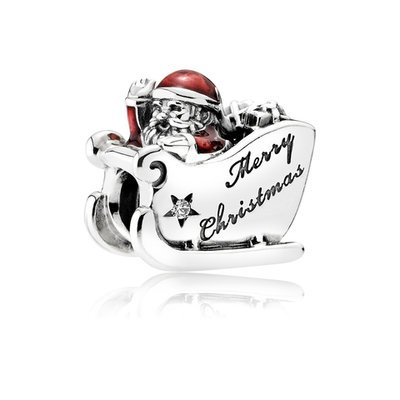 PANDORA Charm Sleighing Santa with Translucent Classic Red Enamel and Engraving
