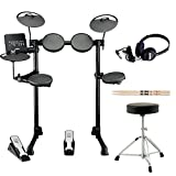 Yamaha DTX-400K Electronic Drum Kit with Drum Throne Vic Firth Drumsticks and Full Size Stereo Headphones