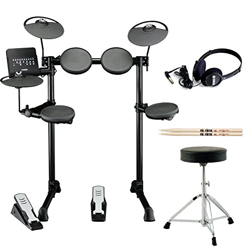 Yamaha Dtx-400K Electronic Drum Kit With Drum Throne, Vic Firth Drumsticks And Full Size Stereo Headphones