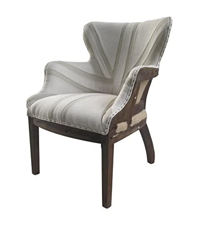White x White Jacques Linen Chair, Off White/Tan