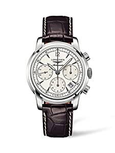 Longines Heritage Column-Wheel Men's Automatic Watch with White Dial Chronograph Display and Brown Leather Strap L27524720