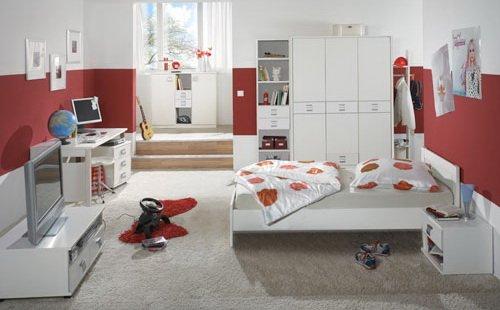 Jugendzimmer 5-tlg in Alpinweiß, Schrank B: 135 cm, Bett 90 x 200 cm, Nachtschrank B: 46 cm, Schreibtisch B. 140 cm, Rollcontainer B: 46 cm online kaufen