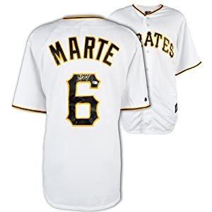 Starling Marte Pittsburgh Pirates Autographed Majestic Replica Home Jersey - Mounted...