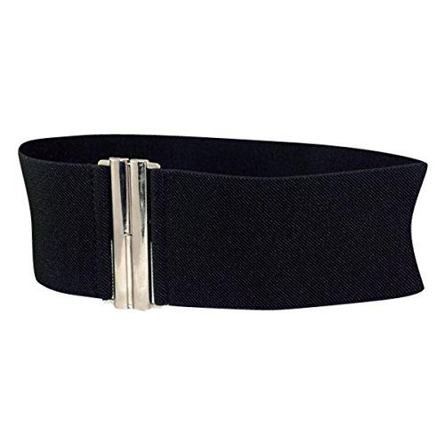 New H88-S Size 8-12 Black Silver Buckle Women Wide Stretch Elastic Waist Belt # 5002300