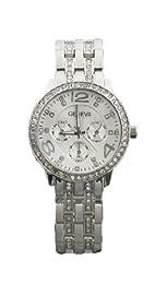 CHIC*MALL New Fashion Geneva Lady Women Unisex Crystal Stainless Steel Quartz Wrist Watch silver