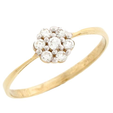 14k Yellow Gold Fancy Cluster Round Cut Diamonds Promise Ring