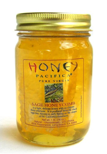 Honey Pacifica Raw Honeycomb, 16-Ounce Cold Packed Jar