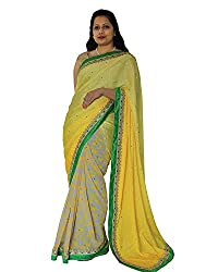 CDS Women's Faux Georgette Saree - (Yellow)