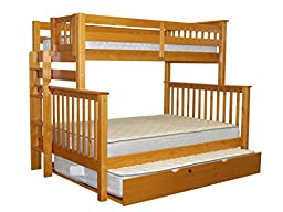 Bedz King Mission Style Twin Over Full Honey Bunk Bed with End Ladder and Full Trundle