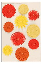Martha Stewart Crafts 3 Dimensional Stickers Dahlia Orange/Yellow By The Package