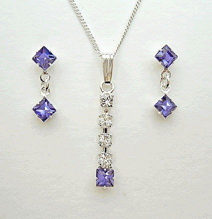 Lj Designs Tanzanite Drop Earring & Pendant Set - Silver Finish With A Sterling Silver Pendant Chain - Swarovski Crystal - Swarovski Jewellery - Bridesmaids Jewellery