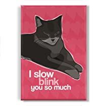 Cat Fridge Magnet - Slow Blink - Cat Valentines Day Gift