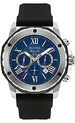 Bulova Marine Star Men's Quartz Watch with Blue Dial Chronograph Display and Black Silicone Strap 98B258