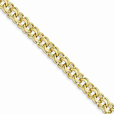 14K Gold 8in 7.5mm Solid Double Link Charm Bracelet 8 Inches