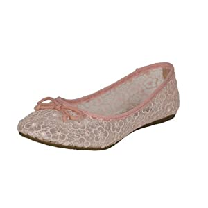 Soda Women's Tahira See Through Flower Lace Ballet Flats, peach lace, 6.5 M US