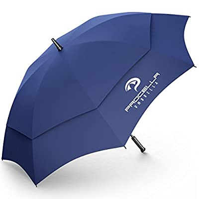 Procella Golf Umbrella 62-Inch Large Tested By Skydivers Windproof Auto Open Rain & Wind Resistant