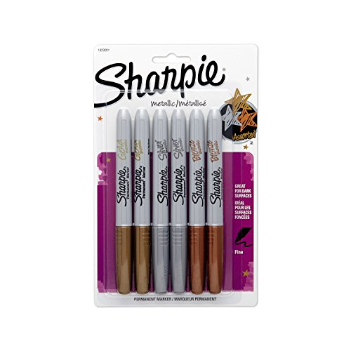 Sharpie Metallic Fine Point Permanent Marker, Pack of 6, Assorted Colors (1829201)