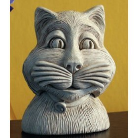 Cast Stone Fluffy Plaque Kitten Cat Garden Sculpture Outdoor Indoor Statue