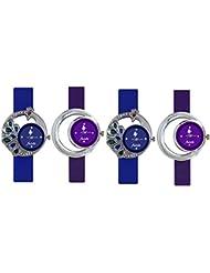FridaBlue And Purple DesignerAnalogCasualWatchwithComboof4 ForWomenandGirls