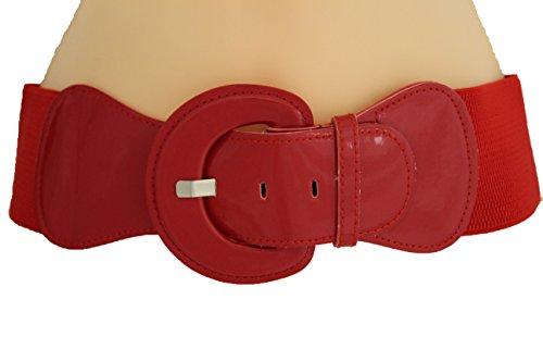 TFJ Women Fashion Belt Hip High Waist Elastic Band Plus Size M L Xl True Red