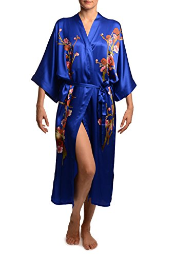 Blue-With-Sakura-Bloom-Luxurious-Silk-Dressing-Gown-Robe-Bleu-Robe-de-Chambre-Taille-Unique-165-cm