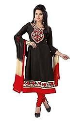 Soru Fashion Women's Cotton Dress Material (Shiv-1109_Black_Free Size)