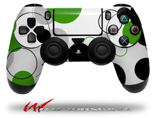 Lots of Dots Green on White - Decal Style Wrap Skin fits Sony PS4 Dualshock 4 Controller - CONTROLLER NOT INCLUDED