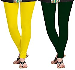 Aannie Women's Cotton Slim Fit Leggings Combo Pack of 2(X-Large,Pure Yellow,Dark Jungle Geen)