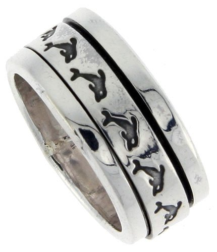 Sterling Silver Men s Spinner Ring Dolphin Pattern Flat Center Handmade 3 8 inch wideB0006GC4MA : image