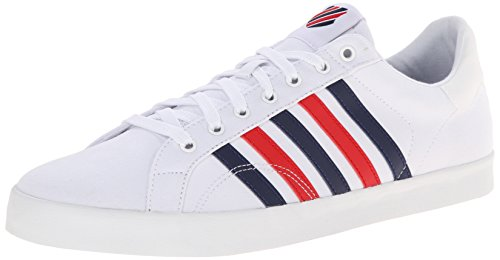 K-Swiss Men's Belmont Stitched T Canvas Court Inspired Shoe, White/Navy/Red, 11.5 M US