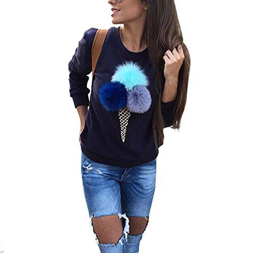 Yidarton Donne Lungo Manica Camicetta Peluche Palla Maglione Pullover Jumper Sweatshirt Top (M, Navy)