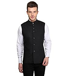 MENJESTIC Men's Slim Fit Waistcoat VB_40_Black_Large