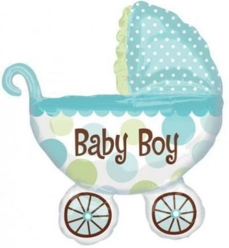 Baby Boy Buggy/Pram Shaped Supershape Foil Balloon