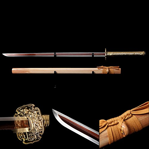 Ninja Sword, Fully Handmade Japanese Samurai Sword 1060 High Carbon Steel Double Edge Sharpened with Center Concave Fluted Shape (Real Ninja Weapons For Kids compare prices)