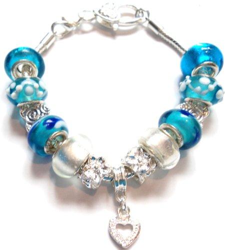 Heart Blue Pandora Style Charm Bracelet - Ideal Birthday/Valentine/Mother's Day Present