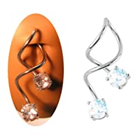 316L Surgical Steel Navel Belly Button Ring Twisted White Aurora AB Round CZ 14G by NRB